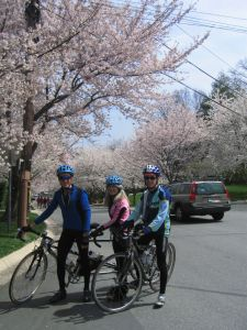 Chuck, Crista, Jeff and the blossoms