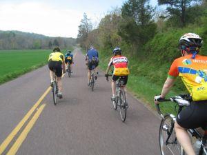 Riders enjoying the Old Rag 200K, Apr. 19, 2008