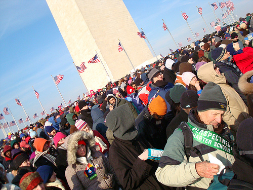 Crowds as Far Away as the Washington Monument