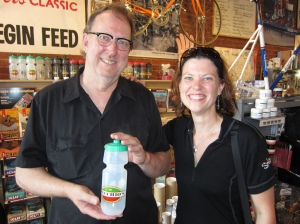 Joe of Vecchio's and MG. He gave us free water bottles for the ride. Thanks Joe!