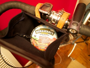 Ruthworks brevet bag-- easily stashes a pint of ice cream.