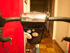 Another view of the front of the brevet bag, and the cue sheet holder