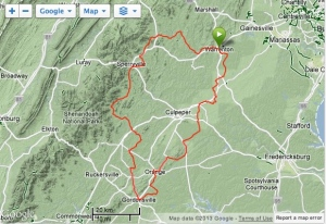 Our route to Gordonsville, staying east of the Blue Ridge around Culpeper, Va.