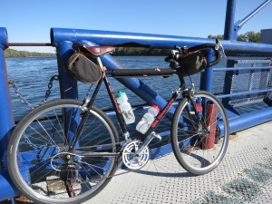 "The Bianchi ""Super Bee"" 650b bike crosses the Potomac."