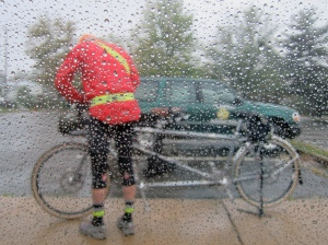 Me, the tandem and the rain. (Courtesy MG)