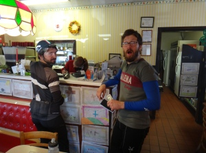 Matt and Kurt at the Courthouse Cafe