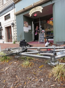 Bike parking outside Earth and Tea Cafe