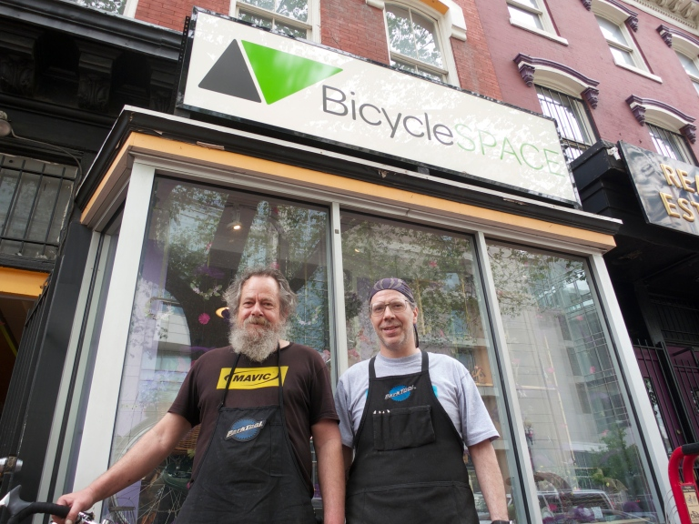 Jerry and Dave. Excellent hands taking a break outside BicycleSPACE.