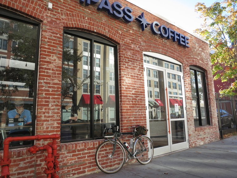 Compass Coffee, sparse bike parking.