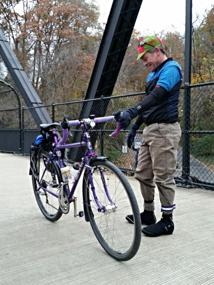 Mike R. with a dynamo setup on his Velo Orange. Courtesy MG.