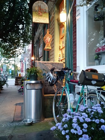 Early Saturday morning outside Lost Dog in Shepherdstown