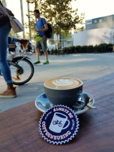 A Baked Joint. Warm outside. I took my Always Be Coffeeneuring Patch.
